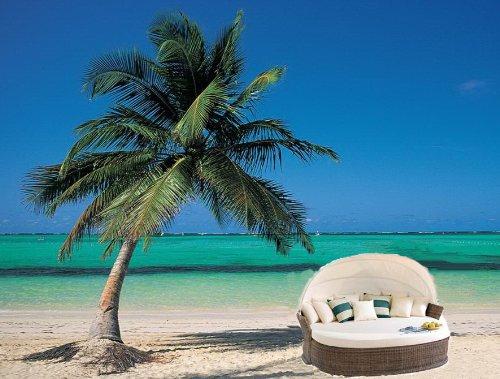 Trendige Sonneninsel Siesta Beach Sonnenliege Polyrattan Lounge Strandkorb