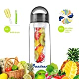 Black 28 OZ Sporty Tritan Fruit Infuser Water Bottle,for home,hike,camp,sport,office,school, Leak Proof,With Handle,for Fruit, Juice, Iced Tea, Lemonade & Sparkling Beverages-with 2 Gifts