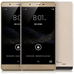 "Tagital® 6"" Android 5.0 Unlocked Smart Phone IPS Screen Dual Core GPS 2G/3G GSM Cellphone (Gold)"