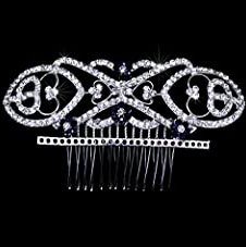 Exquisite Bridal Silver-tone Rhinestone Hair Comb Fascinator Hairpiece