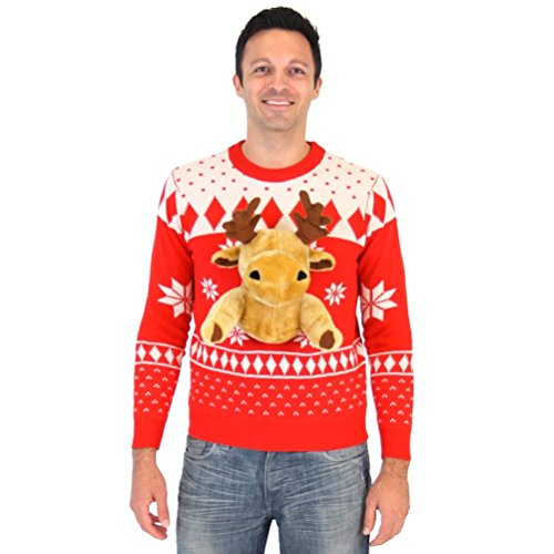 Red 3D Reindeer Moose Ugly Christmas Sweater
