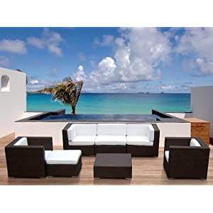 Outdoor Patio Wicker Furniture All Weather 7pc Vila Deep Seating New Sectional Sofa Set