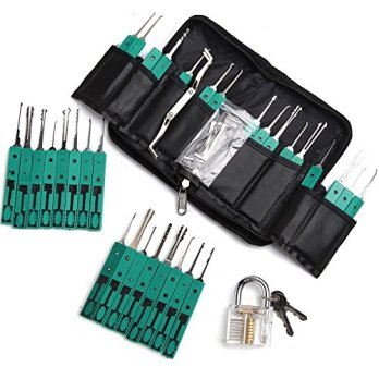 Longans-32-Piece-Premium-Practice-Lock-Pick-Set-with-Transparent-Padlock