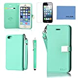 Iphone 5 Case,Iphone 5 Wallet Case,Iphone 5 Leather Case ,Ailun(TM) Credit Card Hold Cute Flip Cover Skin (green) with Screen Protect and Styli Pen