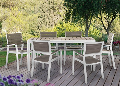 Keter Harmony Indoor/Outdoor Patio 7 Piece Dining Set with Modern Wood Slat Finish, Table and 6 Chairs