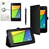 New Google Nexus 7 FHD 2013 Second Generation (7-Inch) Jelly Bean Android 4.3 (16GB / 32GB WiFi / 4G LTE) BLACK Multi-Function New Nexus 7 Leather Case / Cover / Typing & Viewing Stand / Flip Case With Magnetic Sleep / Wake Sensor & Nexus 7 FHD 2 2.0 II Tablet Screen Protector Shield Guard & SMART Stylus holder Accessory Accessories Pack by InventCase