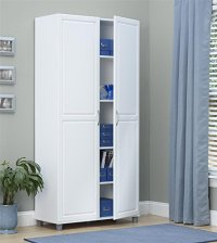 Tall Storage Cabinet White Double Door Utility Kitchen ...