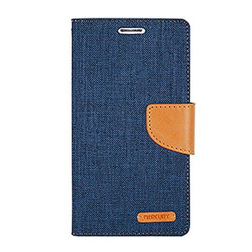 iPhone 6 ケース Mercury Goospery Canvas Diary Case アイフォン 6 手帳型 ケース ネイビー・キャメルNavy/Camel / 携帯 スマホ スマートフォン モバイル ダイアリー ケース カバー カード 収納 ポケット スロット スタンド