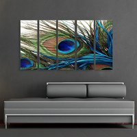 CanvasCEO Peacock Feather 5 Panel Set Wall Art Decor ...
