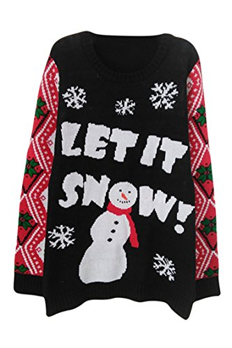 Viottis Women's Black Snowman Christmas X-mas Pullover Knitted Sweater XL
