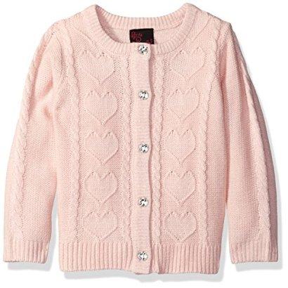 Girls-Rule-Little-Girls-Toddler-Lurex-Heart-Cardigan-Blush-3T