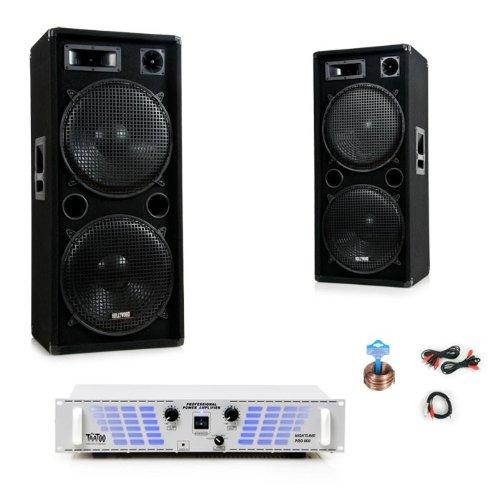 3000W PA Anlage Boxen Verstärker Lautsprecher Endstufe Party Kabelset DJ-721