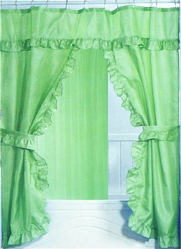 double swag fabric shower curtain set sage valance bathroom accessories home