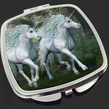Two White Unicorns Make-Up Compact Mirror Stocking Filler Gift