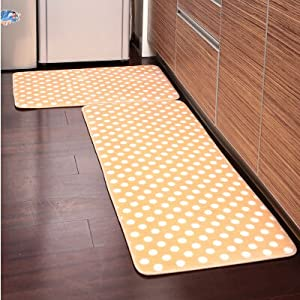 Amazoncom  Ustide 2Piece Yellow Polka Dot Kitchen Rug