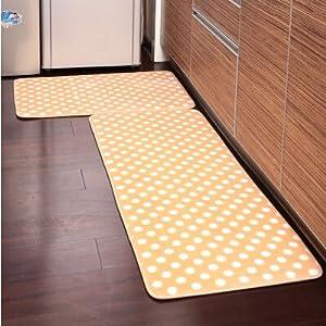 yellow kitchen runner rug Amazon.com - Ustide 2-Piece Yellow Polka Dot Kitchen Rug