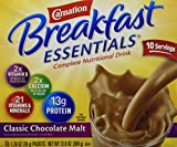 Carnation Breakfast Essentials Complete Nutritional Drink, Packets, Classic Chocolate Malt, (1 box/10 packs)