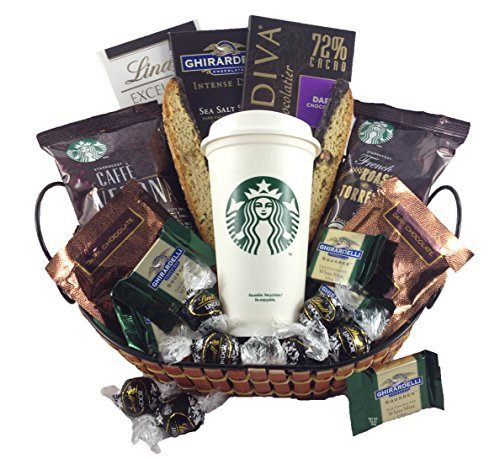 Godiva, Ghirardelli, & Lindt Dark Chocolates with Starbucks Coffee Gourmet Gift Basket