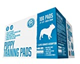 "Bulldogology Premium Puppy Training Pads - Quilted 5 Layers with Super Absorbent Polymer - No-slip Sticky Tape Under Pads - Attractant and Odor Neutralizer - Made For All Types of Dogs - 100 Bulk Count - 24"" X 24"" - Free Guide to Train Your Pup - 100% Satisfaction Guaranteed"