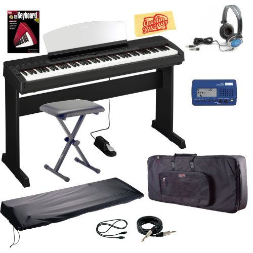 Yamaha P155B Digital Piano Bundle with Keyboard Bag, Bench, Piano Stand, Metronome, Dust Cover, Essential Cables Pack, Instructional Book, Headphones, and Polishing Cloth - Ebony