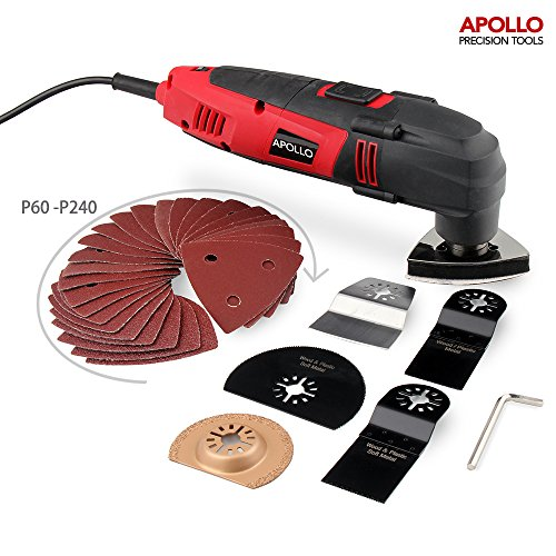 51oQZivo0ML - BEST BUY #1 Apollo 220 Watt Oscillating Combo Multi Tool with Variable Speed Thumbwheel, Safety Switch & 37 Piece Mixed Accessory Kit Including Cutting Blades, Cutting Discs, Scraping Blade, Grinding Blade & Polishing Head and Sander Sheets