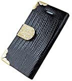 myLife Black {Crocodile Skin and Buckle Design} Faux Leather (Card, Cash and ID Holder + Magnetic Closing) Slim Wallet for the iPhone 5C Smartphone by Apple (External Textured Synthetic Leather with Magnetic Clip + Internal Secure Snap In Hard Rubberized Bumper Holder)
