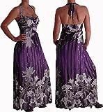 EyeCatchClothing - Sequin Verführerisches langes Kleid mit Nackenhalter und Aufdruck