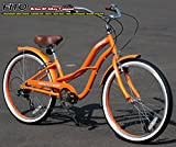 "Anti-Rust / Light Weight Aluminum Alloy Frame! Fito Brisa SF Alloy SHIMANO 7-speed Women - Orange, 26"" Wheel Beach Cruiser Bike Bicycle"
