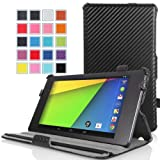 MoKo Google New Nexus 7 FHD 2nd Gen Case - Slim-Fit Multi-angle Stand Cover Case Carbon Fiber BLACK (With Smart Cover Auto Wake / Sleep Feature)
