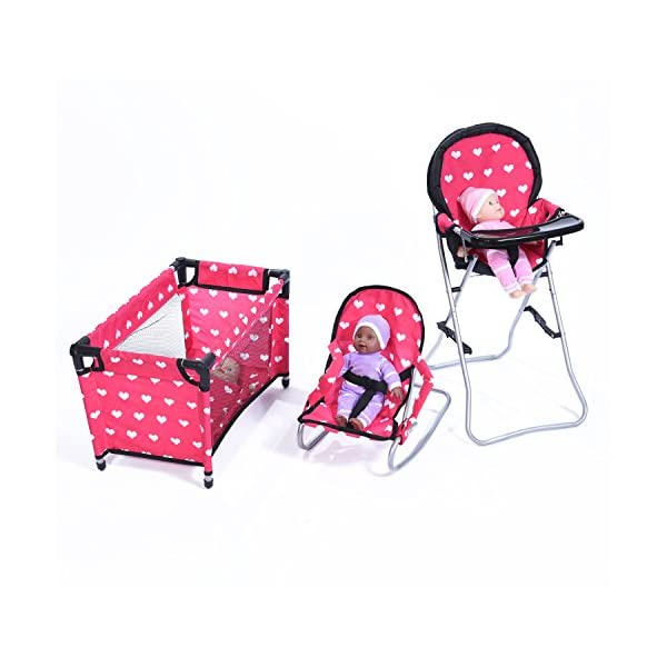 american girl doll high chair fishing wowhead 3 1 mega playset with bouncer and pack n home
