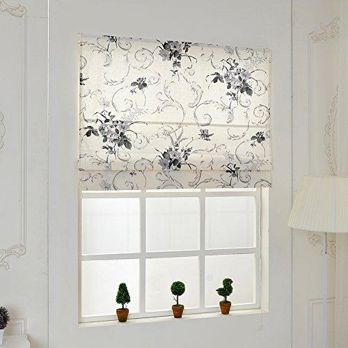 Top Finel Linen Cotton Ink Flower Window Treatments Roman