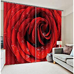 """Alicemall Romantic Dewy Red Rose 3D Blackout Curtain Statement Flower Print Window Drapes For Home Decor, 2 Panels (80""""W x 84""""L--11435119)"""