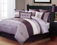 8 pc modern purple/ beige/ plum / bed in a bag / comforter ...
