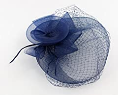The Royals Fascinator Hat with Hair Comb for Adults Women Teens Girls (Navy Blue)