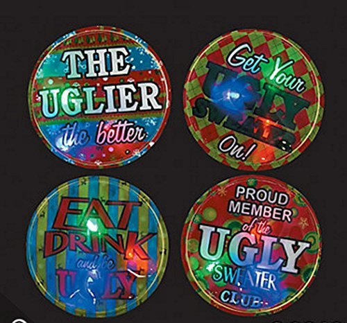 Ugly Sweater Light-Up Badges (1 Dozen)