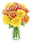 Bouquet of Long Stemmed Orange and Yellow Roses (Dozen) - With Vase
