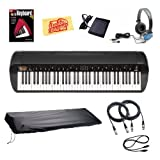 Korg SV-1BK Stage Vintage Piano Bundle with Dust Cover, Sustain Pedal, Essential Cables Pack, Headphones, Instructional Book, and Polishing Cloth - Black