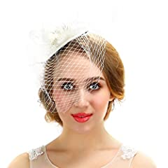 Women White Fascinator Cocktail Hat With Veil and Feathers Handmade For Wedding