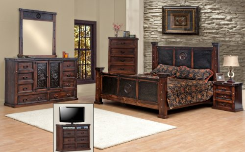 King Size Copper Creek Bedroom Set Dark Stain Western