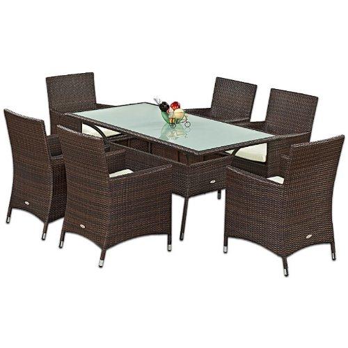 Gartenmöbel Esstischset Tisch mit Glas 6 Stühle Tajo Set 1 in Braun