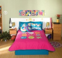 Peace Sign Fuchsia Pink Comforter Bedding Set Full/Queen