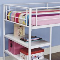 WE Furniture Twin Low Loft Metal Bed, White Beds ...