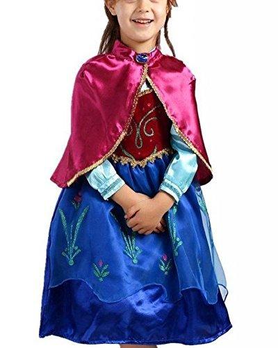Vogueeasy Eiskönigin Prinzessin Kostüm Kinder Glanz Kleid Mädchen Weihnachten Verkleidung Karneval Party Halloween Fest