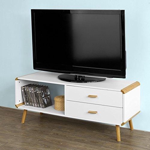 SoBuy® TV-Lowboard, Fernsehtisch aus MDF und Bambus, Wohnzimmertisch mit Ablagefach und zwei Schubladen, 120 cm breit, FRG148-WN