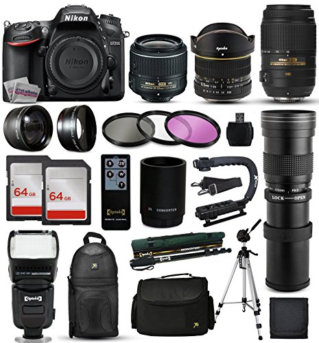 "Nikon D7200 DSLR Digital Camera + 18-55mm VR II + 6.5mm Fisheye + 55-300mm VR + 420-1600mm Lens + Filters + 128GB Memory + Action Stabilizer + i-TTL Autofocus Flash + Backpack + Case + 70"" Tripod"