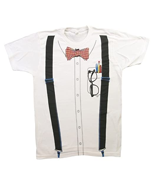 Impact Originals Nerd Suspenders Bowtie Men's White T-shirt (Small)