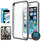 SPIGEN iPhone 5S Case Bumper **NEW Release** [Ultra Hybrid] [Gray] FREE Screen Protector + 2 FREE Design Graphics Included Bumper with CLEAR Back Panel for iPhone 5S / 5 - ECO-Friendly Packaging - Gray (SGP10516)
