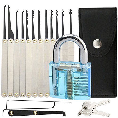 15-Piece-Lock-Pick-Set-Professional-Clear-Sapphire-Blue-Cutaway-Padlock-Practice-Lock-With-Locksmith-Tools-for-Lock-Pick-Training-Trainer-Practice