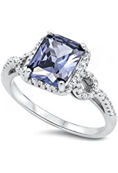 Simulated Emerald Cut Simulated Tanzanite & CZ .925 Sterling Silver Ring Sizes 5-10