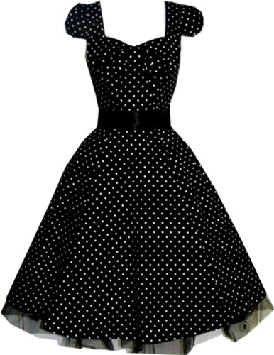 Pretty Kitty Fashion 50s Polka Dot Schwarz Weiß Cocktail Kleid